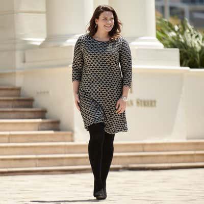 Damen-Kleid mit Wellen-Muster, große Größen