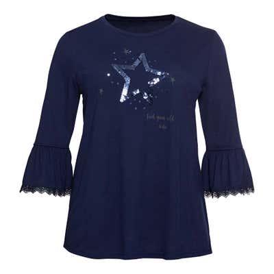 Damen-Shirt mit Pailletten-Stern, große Größen