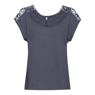 Damen-T-Shirt mit transparentem Spitzeneinsatz