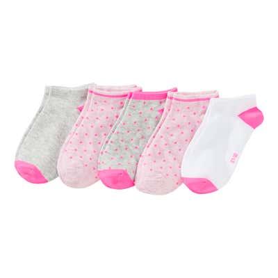 Mädchen-Sneaker-Socken mit Punkte-Muster, 5er Pack