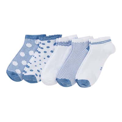 Damen-Sneaker-Socken mit martimem Look, 5er Pack
