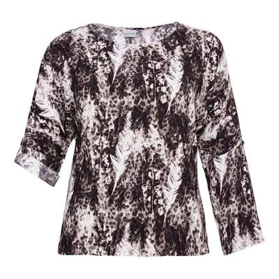 Damen-Bluse mit Krempel-Ärmeln, große Größen