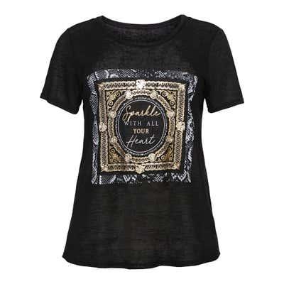 Damen-T-Shirt mit glänzendem Frontaufdruck, große Größen