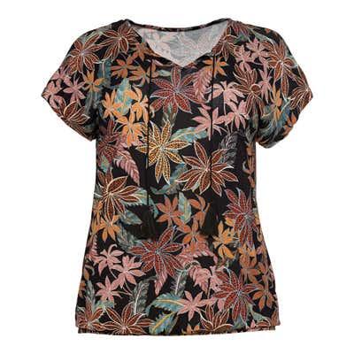 Damen-T-Shirt mit Blatt-Muster, große Größen