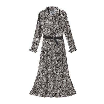 Damen-Kleid mit Schlangenhaut-Muster, mit Gürtel