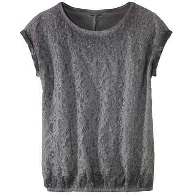 Damen-T-Shirt mit großem Spitzeneinsatz