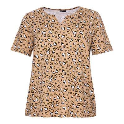 Damen-T-Shirt mit Herzmuster, große Größen