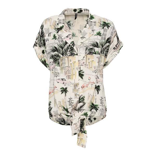 Damen-Bluse mit Knoten am Saum