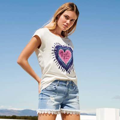 Mädchen-Jeansshorts mit Spitzenverzierung