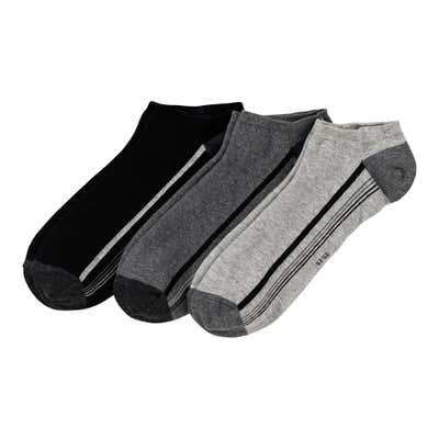 Herren-Sneaker-Socken mit Kontrast-Design, 3er Pack
