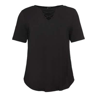 Damen-T-Shirt mit Schnürung am Ausschnitt, große Größen