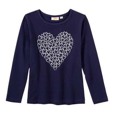 Mädchen-Shirt mit glitzerndem Herz-Motiv