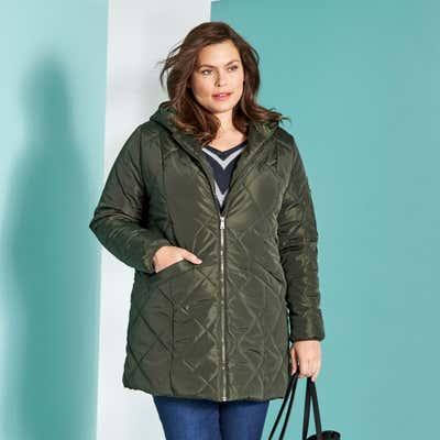 Damen-Mantel mit Kapuze, große Größen