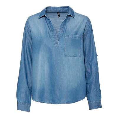 Damen-Bluse in Jeans-Optik