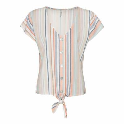 Damen-Bluse mit Streifen und Knoten