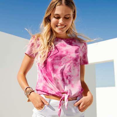 Damen-T-Shirt mit coolem Batikdruck