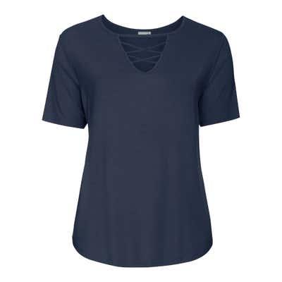 Damen-T-Shirt mit Zierschnürung, große Größen