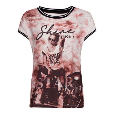 Damen-T-Shirt mit gestreiften Ripp-Bündchen
