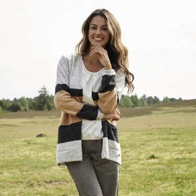 Damen-Strickjacke mit modischem Colorblock