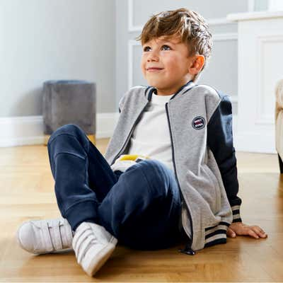 Kinder-Jungen-Sweatjacke in Melange-Optik