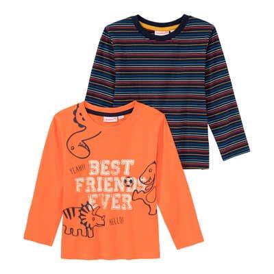 Baby-Jungen-Shirt mit Ringelmuster, 2er Pack