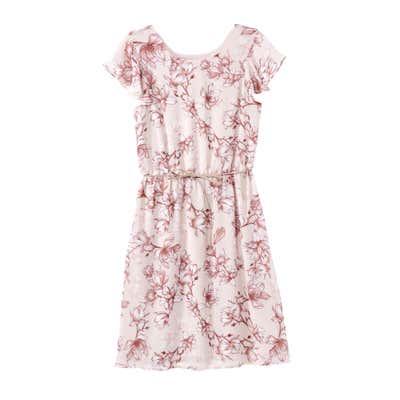 Damen-Kleid mit Blüten-Design, mit Gürtel