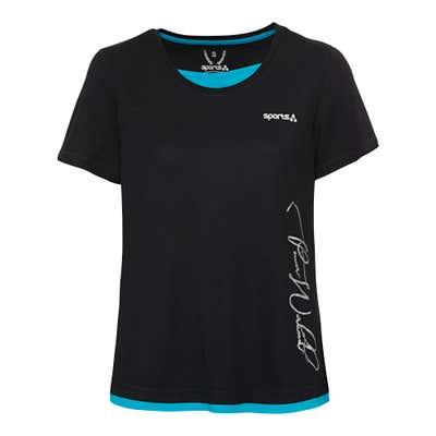 Damen-Fitness-T-Shirt mit Kontrast-Einsätzen