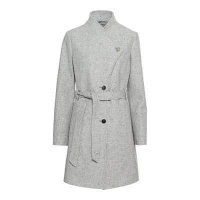 Damen-Mantel in Woll-Optik, mit Gürtel