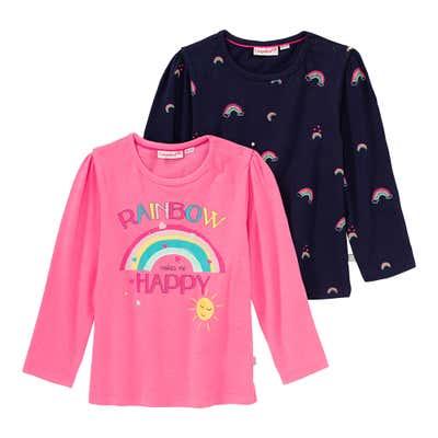 Baby-Mädchen-Shirt mit Regenbogen-Design, 2er Pack