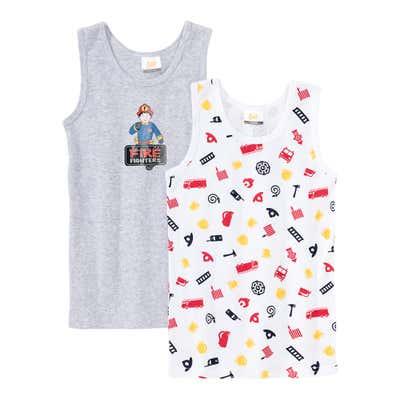 Jungen-Unterhemd mit Feuerwehr-Motiven, 2er Pack