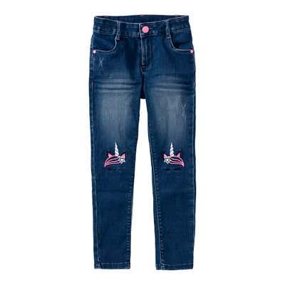 Mädchen-Jeans mit Einhorn-Stickerei