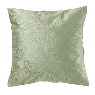 Dekokissen mit beeindruckender Blätter-Prägung, ca. 50x50cm