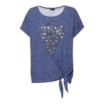 Damen-T-Shirt mit Pailletten-Herz, große Größen