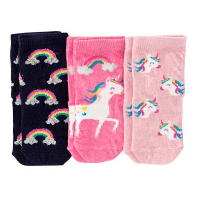 Baby-Mädchen-Socken mit Glitzer-Effekten, 3er Pack