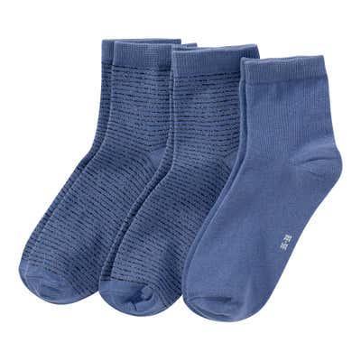 Damen-Socken mit Ringelmuster, 3er Pack