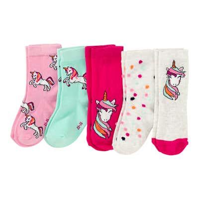 Mädchen-Socken mit Einhorn-Design, 5er Pack