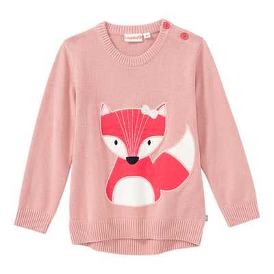 Baby-Mädchen-Strickpullover mit Fuchs-Applikation