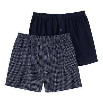 Herren-Boxershorts aus reiner Baumwolle, 2er Pack
