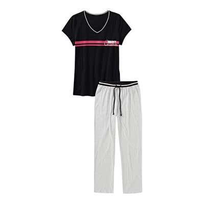 Damen-Schlafanzug mit Kontrast-Design, 2-teilig