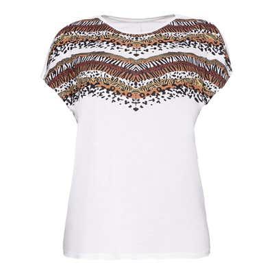 Damen-T-Shirt mit Tiermuster-Streifen, große Größen