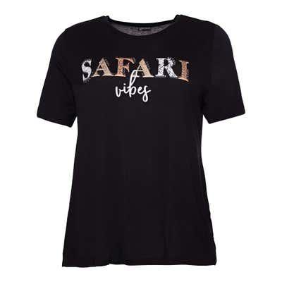 Damen-T-Shirt mit Safari-Schriftzug, große Größen