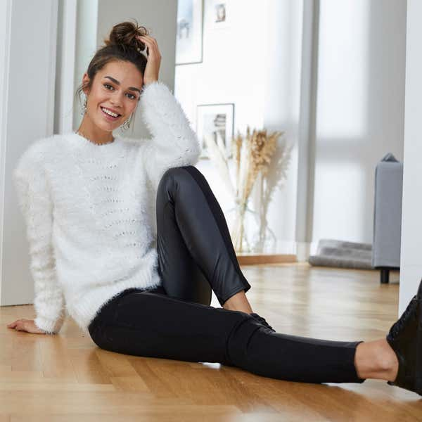Damen-Leggings mit Kunstleder-Design