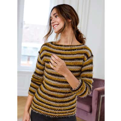 Damen-Pullover mit Ringeljacqardmuster