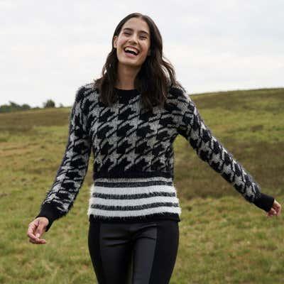 Damen-Pullover mit trendigem Hahnenschritt-Design