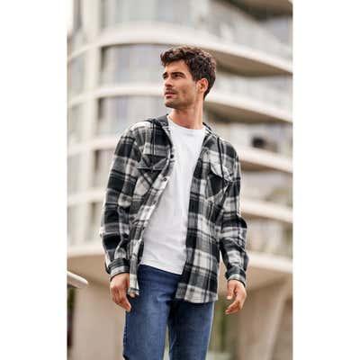 Herren-Fleecehemd mit modischer Kapuze