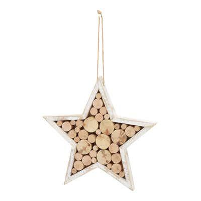 Stern mit Holzscheiben