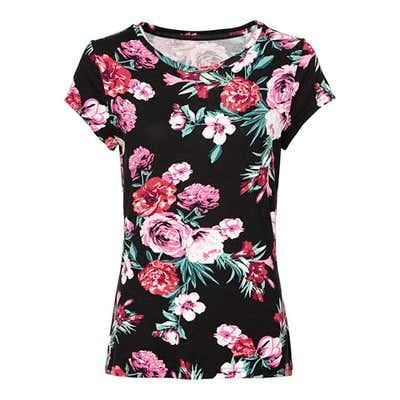 Damen-T-Shirt mit Blüten-Muster