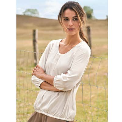 Damen-Bluse mit elastischem Saum