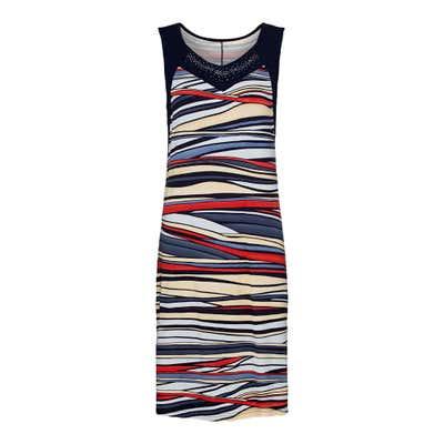 Damen-Kleid mit kreativem Streifenmuster