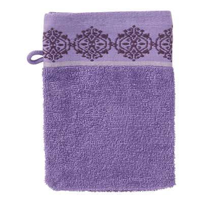 Waschhandschuh mit Ornament-Bordüre, 16x21cm